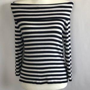 Ellen Tracy Navy Blue & White Stripe Top